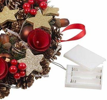 Britesta Türkranz: Weihnachtskranz, 20 warmweiße LEDs, Timer, batteriebetrieben, 28 cm (Türkranz Weihnachten LED Timer) - 6