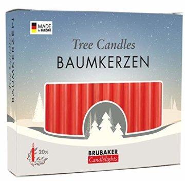 Brubaker 20er Pack Baumkerzen Wachs Weihnachtskerzen Pyramidenkerzen Christbaumkerzen Rot - 1