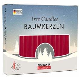 Brubaker 20er Pack Baumkerzen Wachs Weihnachtskerzen Pyramidenkerzen Christbaumkerzen Dunkelrot - 1