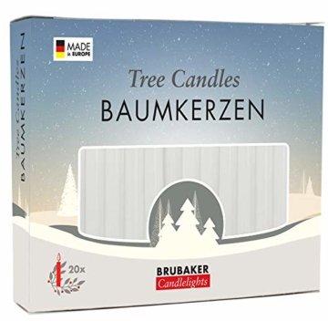 Brubaker 20er Pack Baumkerzen Wachs Weihnachtskerzen Pyramidenkerzen Christbaumkerzen Weiß - 1