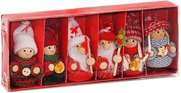 BRUBAKER 6-teiliges Set Weihnachtswichtel aus Holz und Strick Baumanhänger Weihnachtsanhänger 8 cm in Geschenkbox - 1