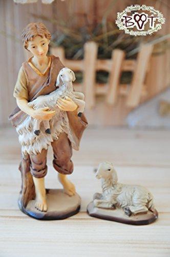 BTV Figuren für große Weihnachtskrippen aus Holz hochwertige Krippenfiguren 12-teilig KFX-HO Holzfiguren-OPTIK handbemalt und GEBEIZT - präsise saubere Gesichtszüge Mienen natürliche Mimik - 2