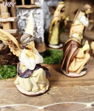 BTV Figuren für große Weihnachtskrippen aus Holz hochwertige Krippenfiguren 12-teilig KFX-HO Holzfiguren-OPTIK handbemalt und GEBEIZT - präsise saubere Gesichtszüge Mienen natürliche Mimik - 3