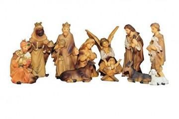 BTV Figuren für große Weihnachtskrippen aus Holz hochwertige Krippenfiguren 12-teilig KFX-HO Holzfiguren-OPTIK handbemalt und GEBEIZT - präsise saubere Gesichtszüge Mienen natürliche Mimik - 1