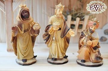 BTV Figuren für große Weihnachtskrippen aus Holz hochwertige Krippenfiguren 12-teilig KFX-HO Holzfiguren-OPTIK handbemalt und GEBEIZT - präsise saubere Gesichtszüge Mienen natürliche Mimik - 7