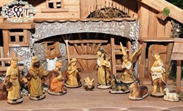 BTV Figuren für große Weihnachtskrippen aus Holz hochwertige Krippenfiguren 12-teilig KFX-HO Holzfiguren-OPTIK handbemalt und GEBEIZT - präsise saubere Gesichtszüge Mienen natürliche Mimik - 9