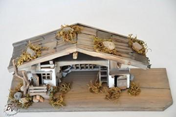 BTV Premium Weihnachtskrippe mit Zubehör, 32 cm massiv Vollholz Massivholz komplett MIT hochwertigen Premium Figuren , Krippe MIT Figuren und Zubehör - 2