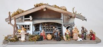 BTV Premium Weihnachtskrippe mit Zubehör, 32 cm massiv Vollholz Massivholz komplett MIT hochwertigen Premium Figuren , Krippe MIT Figuren und Zubehör - 1