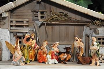 BTV Premium Weihnachtskrippe + Zubehör, massiv Vollholz Massivholz komplett MIT hochwertigen Premium Figuren, Krippe MIT Figuren und Zubehör, Krippenstall Weihnachten Krippenzubehör Weihnachtskrippen - 3