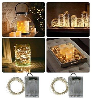 BXROIU 2 x 20er Micro LED Lichterkette Batterie betrieb und 2 Programm Auf 7ft 2Meter Silberdraht für Party, Garten, Weihnachten, Halloween, Hochzeit, Beleuchtung Deko(Warmweiß) - 2