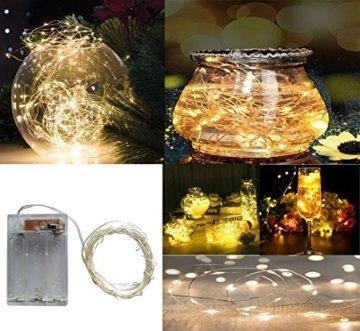 BXROIU 2 x 20er Micro LED Lichterkette Batterie betrieb und 2 Programm Auf 7ft 2Meter Silberdraht für Party, Garten, Weihnachten, Halloween, Hochzeit, Beleuchtung Deko(Warmweiß) - 3