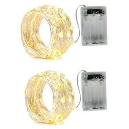 BXROIU 2 x 20er Micro LED Lichterkette Batterie betrieb und 2 Programm Auf 7ft 2Meter Silberdraht für Party, Garten, Weihnachten, Halloween, Hochzeit, Beleuchtung Deko(Warmweiß) - 1