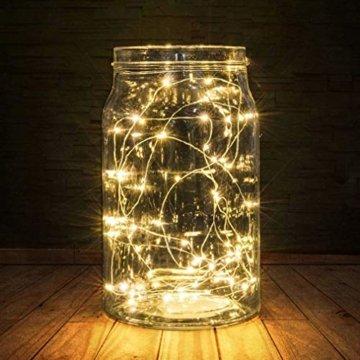 BXROIU 2 x 20er Micro LED Lichterkette Batterie betrieb und 2 Programm Auf 7ft 2Meter Silberdraht für Party, Garten, Weihnachten, Halloween, Hochzeit, Beleuchtung Deko(Warmweiß) - 4