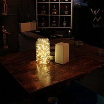 BXROIU 2 x 20er Micro LED Lichterkette Batterie betrieb und 2 Programm Auf 7ft 2Meter Silberdraht für Party, Garten, Weihnachten, Halloween, Hochzeit, Beleuchtung Deko(Warmweiß) - 5