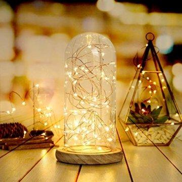 BXROIU 2 x 20er Micro LED Lichterkette Batterie betrieb und 2 Programm Auf 7ft 2Meter Silberdraht für Party, Garten, Weihnachten, Halloween, Hochzeit, Beleuchtung Deko(Warmweiß) - 7