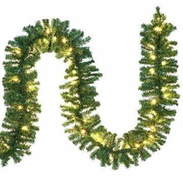 Casaria Weihnachtsgirlande I 10m I 200 LED's I In & Outdoor I Tannengirlande Tannenzweiggirlande Weihnachtsdeko - 1