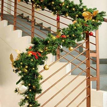 Casaria Weihnachtsgirlande I 10m I 200 LED's I In & Outdoor I Tannengirlande Tannenzweiggirlande Weihnachtsdeko - 7