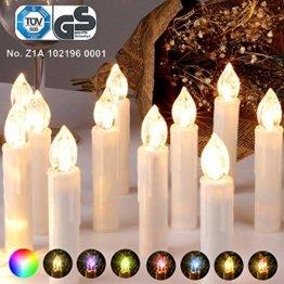 CCLIFE GS/CE LED Weihnachtskerzen Kabellos RGB Kerzen Bunt Weihnachtsbaumkerzen Christbaumkerzen mit Fernbedienung Timer Kerzenlichter, Farbe:Beige, Größe:20er - 1