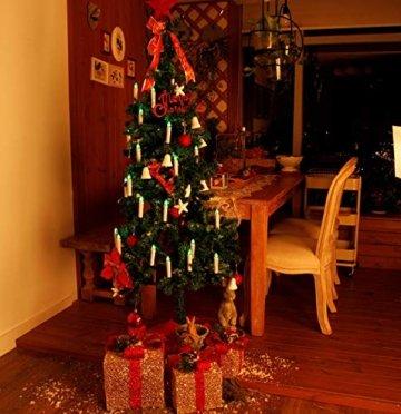 CCLIFE GS/CE LED Weihnachtskerzen Kabellos RGB Kerzen Bunt Weihnachtsbaumkerzen Christbaumkerzen mit Fernbedienung Timer Kerzenlichter, Farbe:Beige, Größe:20er - 5