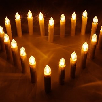 CCLIFE GS/CE LED Weihnachtskerzen Kabellos RGB Kerzen Bunt Weihnachtsbaumkerzen Christbaumkerzen mit Fernbedienung Timer Kerzenlichter, Farbe:Beige, Größe:20er - 6
