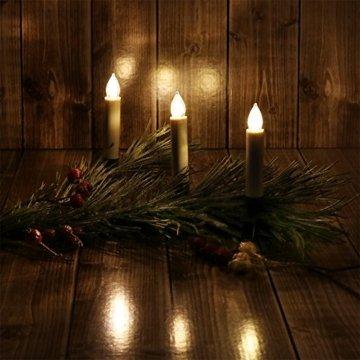 com-four® 20x LED Kerzen als Weihnachtsbeleuchtung, Christbaumkerzen mit Klemme, kabellos mit Fernbedienung (20 Stück) - 2