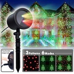 COOWOO LED Projektionslampe, LED Lichteffekt Dekoration Weihnachtsbeleuchtung innen/außen IP65 LED Projektor Party Licht mit 6 Mustern und Timerfunktion - 1