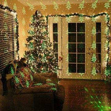COOWOO LED Projektionslampe, LED Lichteffekt Dekoration Weihnachtsbeleuchtung innen/außen IP65 LED Projektor Party Licht mit 6 Mustern und Timerfunktion - 4