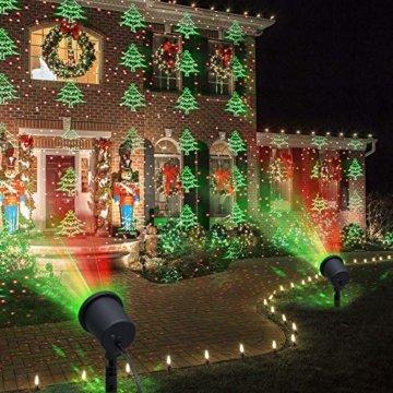 COOWOO LED Projektionslampe, LED Lichteffekt Dekoration Weihnachtsbeleuchtung innen/außen IP65 LED Projektor Party Licht mit 6 Mustern und Timerfunktion - 6