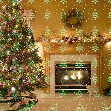COOWOO LED Projektionslampe, LED Lichteffekt Dekoration Weihnachtsbeleuchtung innen/außen IP65 LED Projektor Party Licht mit 6 Mustern und Timerfunktion - 7
