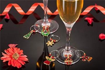COSORO Weihnachten Tischdeko Kits-30 Fun Weihnachten Glas Dekorationen,6 Xmas Socken Bestecktasche Besteckhalter Taschen,6 Weinglas Charms Marker,1 Pack Xmas Confetti - 3