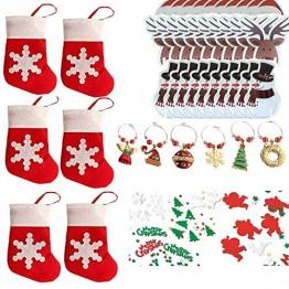 COSORO Weihnachten Tischdeko Kits-30 Fun Weihnachten Glas Dekorationen,6 Xmas Socken Bestecktasche Besteckhalter Taschen,6 Weinglas Charms Marker,1 Pack Xmas Confetti - 1