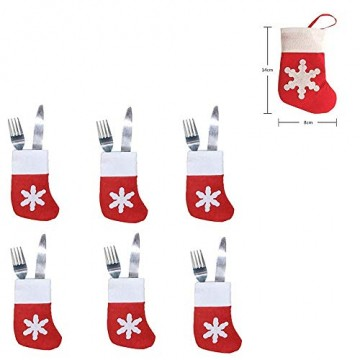 COSORO Weihnachten Tischdeko Kits-30 Fun Weihnachten Glas Dekorationen,6 Xmas Socken Bestecktasche Besteckhalter Taschen,6 Weinglas Charms Marker,1 Pack Xmas Confetti - 4