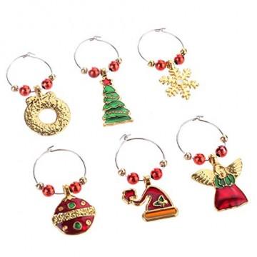 COSORO Weihnachten Tischdeko Kits-30 Fun Weihnachten Glas Dekorationen,6 Xmas Socken Bestecktasche Besteckhalter Taschen,6 Weinglas Charms Marker,1 Pack Xmas Confetti - 6