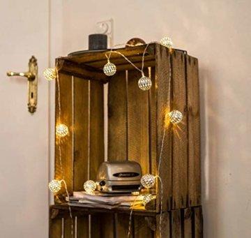 CozyHome marokkanische LED Lichterkette – 7 Meter | Mit Netzstecker NICHT batterie-betrieben | 20 LEDs warm-weiß | Kugeln Orientalisch | Deko Silber – kein lästiges austauschen der Batterien - 2