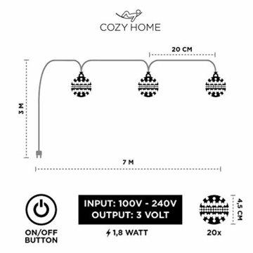 CozyHome marokkanische LED Lichterkette – 7 Meter | Mit Netzstecker NICHT batterie-betrieben | 20 LEDs warm-weiß | Kugeln Orientalisch | Deko Silber – kein lästiges austauschen der Batterien - 5