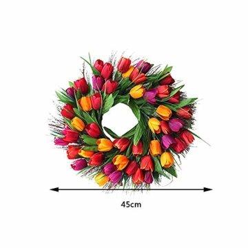Cratone Türkranz Wandkranz Deko Kranz Tulpe handgefertigte Kunstblumendeko für Zuhause Parties Weihnachten Türen Hochzeiten Dekor (Rot) - 3