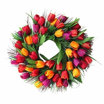 Cratone Türkranz Wandkranz Deko Kranz Tulpe handgefertigte Kunstblumendeko für Zuhause Parties Weihnachten Türen Hochzeiten Dekor (Rot) - 4