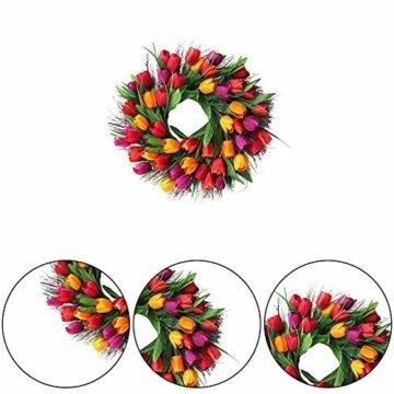 Cratone Türkranz Wandkranz Deko Kranz Tulpe handgefertigte Kunstblumendeko für Zuhause Parties Weihnachten Türen Hochzeiten Dekor (Rot) - 5