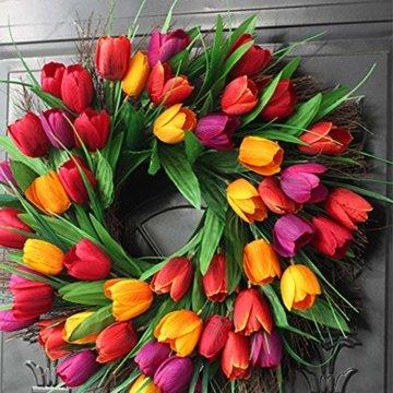 Cratone Türkranz Wandkranz Deko Kranz Tulpe handgefertigte Kunstblumendeko für Zuhause Parties Weihnachten Türen Hochzeiten Dekor (Rot) - 8