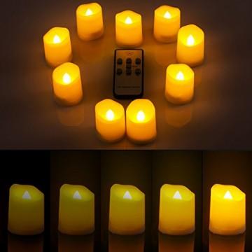 Criacr 9er Led Kerzen mit Fernbedienung, Flammenlose Kerzen mit Timerfunktion, elektrische teelichter, 3 Modi, Batteriebetriebene Kerzen für Weihnachtsdeko, Hochzeit, Geburtstags Party ( Warmweiß ) - 3