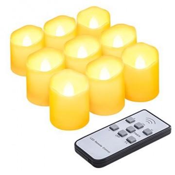 Criacr 9er Led Kerzen mit Fernbedienung, Flammenlose Kerzen mit Timerfunktion, elektrische teelichter, 3 Modi, Batteriebetriebene Kerzen für Weihnachtsdeko, Hochzeit, Geburtstags Party ( Warmweiß ) - 1