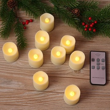 Criacr 9er Led Kerzen mit Fernbedienung, Flammenlose Kerzen mit Timerfunktion, elektrische teelichter, 3 Modi, Batteriebetriebene Kerzen für Weihnachtsdeko, Hochzeit, Geburtstags Party ( Warmweiß ) - 9