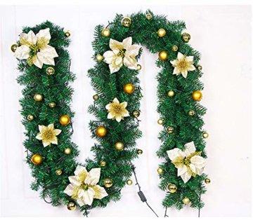 CULASIGN Weihnachtskranz mit Beleuchtung Weihnachtsgirlande 5M mit 50LED Beleuchtung Deko, Weihnachten, Advent Stimmungslicht,Türkranz Innen und Außen Verwendbar 2.7m (Gold) - 3