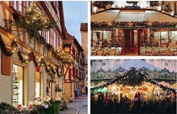 CULASIGN Weihnachtskranz mit Beleuchtung Weihnachtsgirlande 5M mit 50LED Beleuchtung Deko, Weihnachten, Advent Stimmungslicht,Türkranz Innen und Außen Verwendbar 2.7m (Gold) - 4