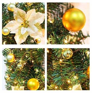 CULASIGN Weihnachtskranz mit Beleuchtung Weihnachtsgirlande 5M mit 50LED Beleuchtung Deko, Weihnachten, Advent Stimmungslicht,Türkranz Innen und Außen Verwendbar 2.7m (Gold) - 5