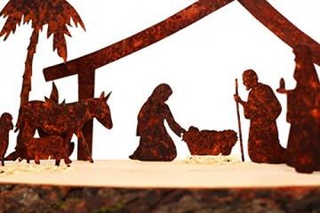 Dekobox Weihnachtskrippe 15 Teilig - Edelrost inkl. Holzbrett - einzigartig und exklusiv - Made in Tirol - 2
