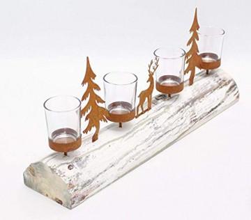 Dekoleidenschaft Lichterboard aus Holz mit 4 Glas-Windlichtern, Tannenbäumen und Rentier aus Metall in Rost-Optik, Teelichthalter - 2