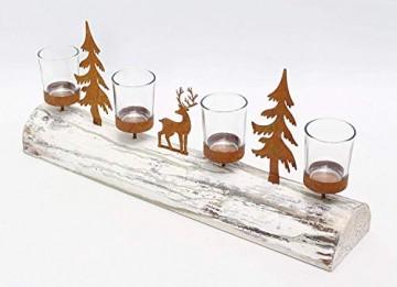 Dekoleidenschaft Lichterboard aus Holz mit 4 Glas-Windlichtern, Tannenbäumen und Rentier aus Metall in Rost-Optik, Teelichthalter - 3