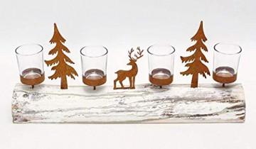 Dekoleidenschaft Lichterboard aus Holz mit 4 Glas-Windlichtern, Tannenbäumen und Rentier aus Metall in Rost-Optik, Teelichthalter - 4