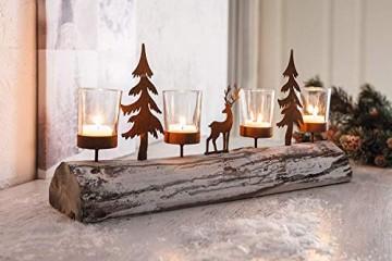 Dekoleidenschaft Lichterboard aus Holz mit 4 Glas-Windlichtern, Tannenbäumen und Rentier aus Metall in Rost-Optik, Teelichthalter - 1